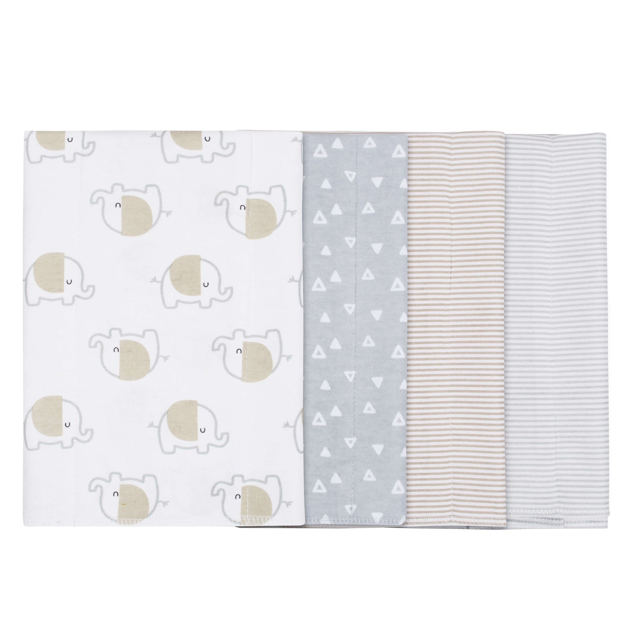 Gerber® 4-Pack Neutral Elephant Flannel Burpcloths