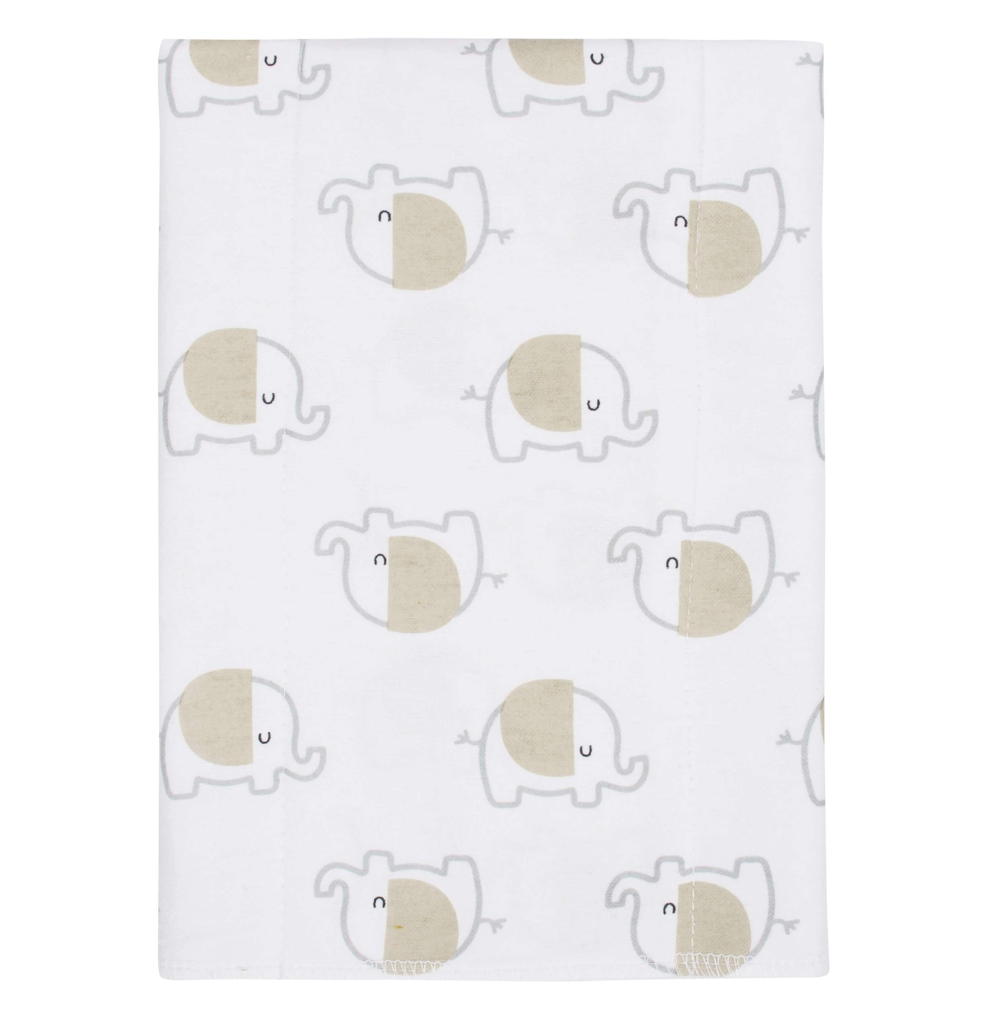 4-Pack Neutral Elephant Flannel Burpcloths