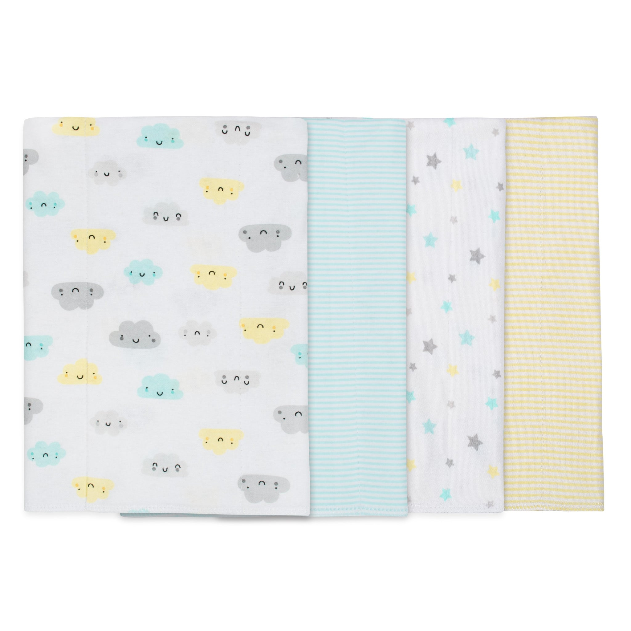 Gerber® 4-pack Neutral Clouds Flannel Burpcloth