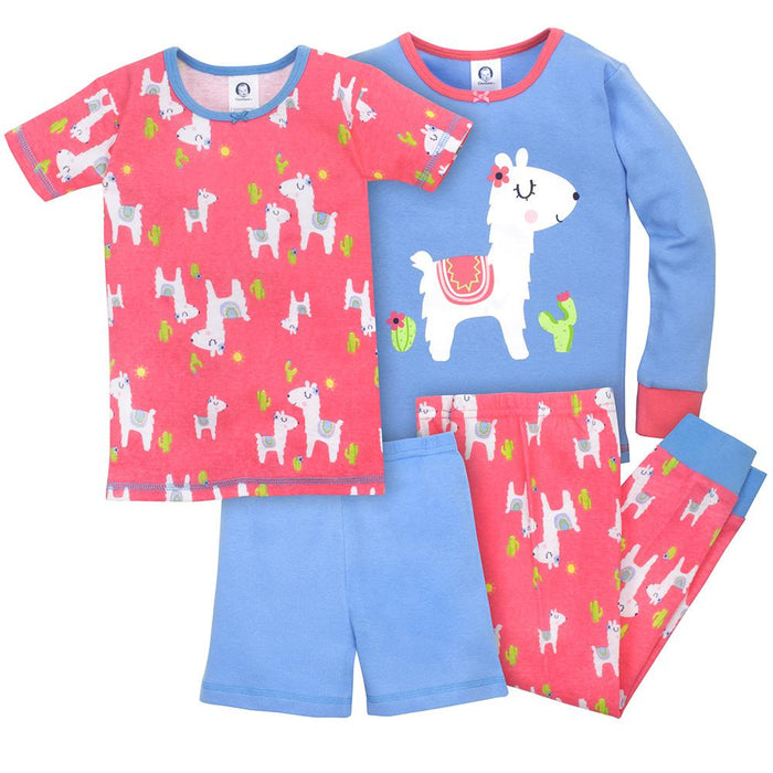 4-Piece Girls\u0027 Llama Snug Fit Cotton Pajamas | Gerber Childrenswear