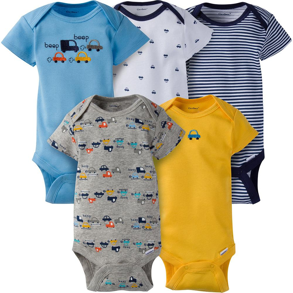 5-Pack Boys Cars Onesies® Brand Short Sleeve Bodysuits