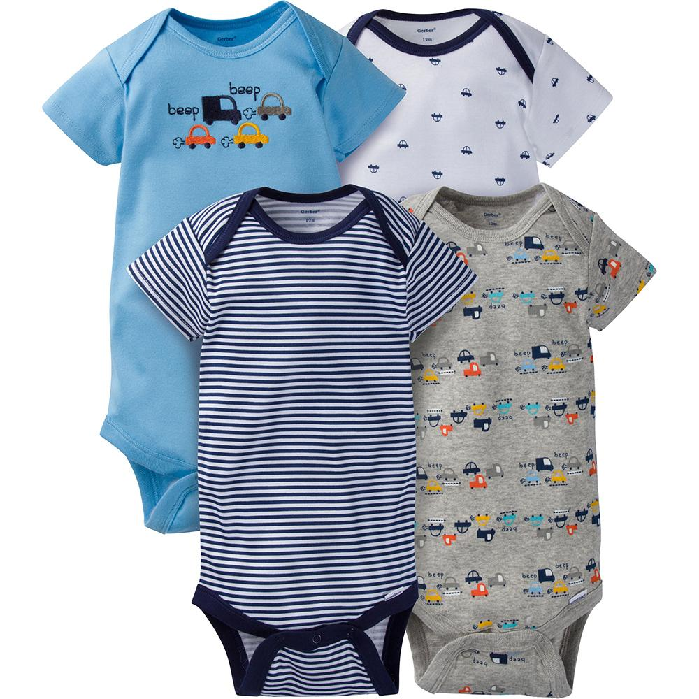 4-Pack Boys Cars Onesies® Brand Short Sleeve Bodysuits-Gerber Childrenswear