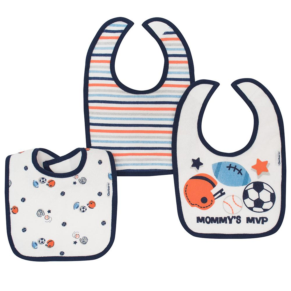 3-Pack Boys Sports Dribbler Bibs-Gerber Childrenswear