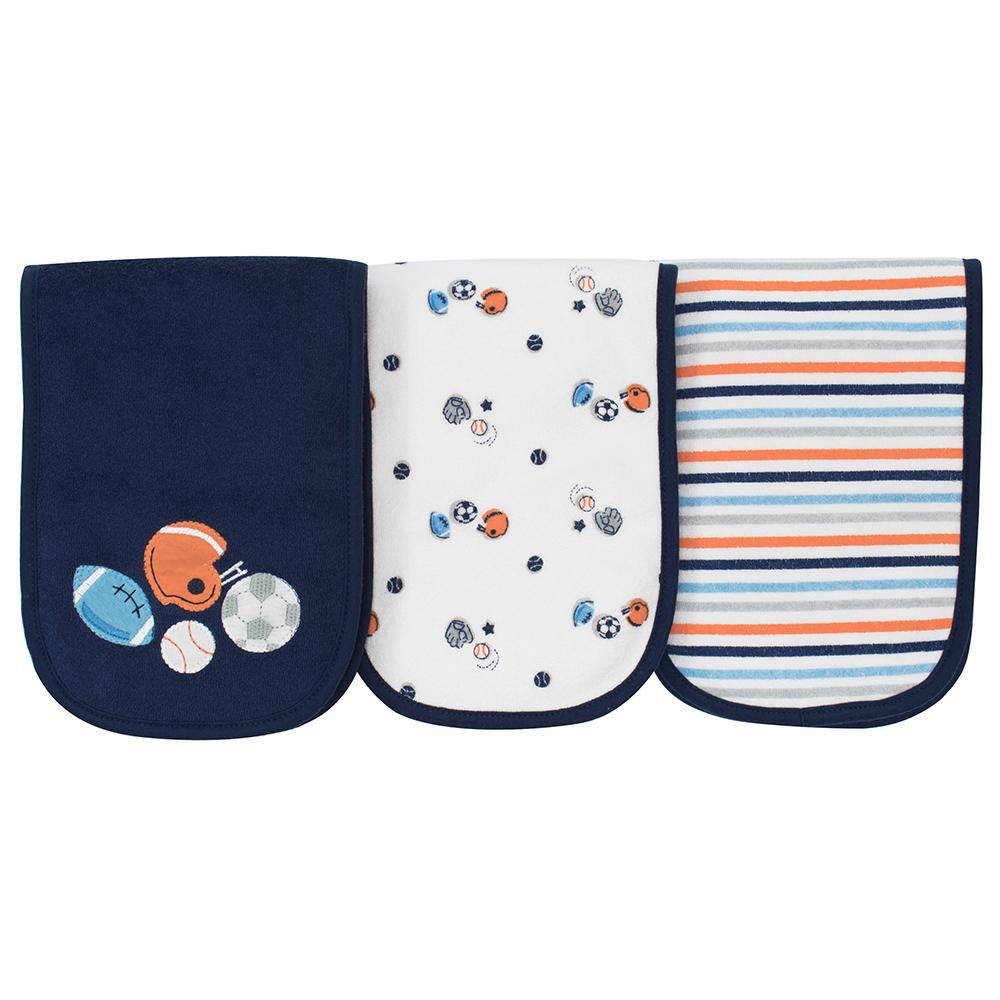 3-Pack Boys Sports Terry Burpcloths-Gerber Childrenswear