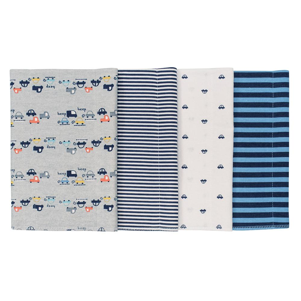 4-Pack Boys Cars Flannel Burpcloths