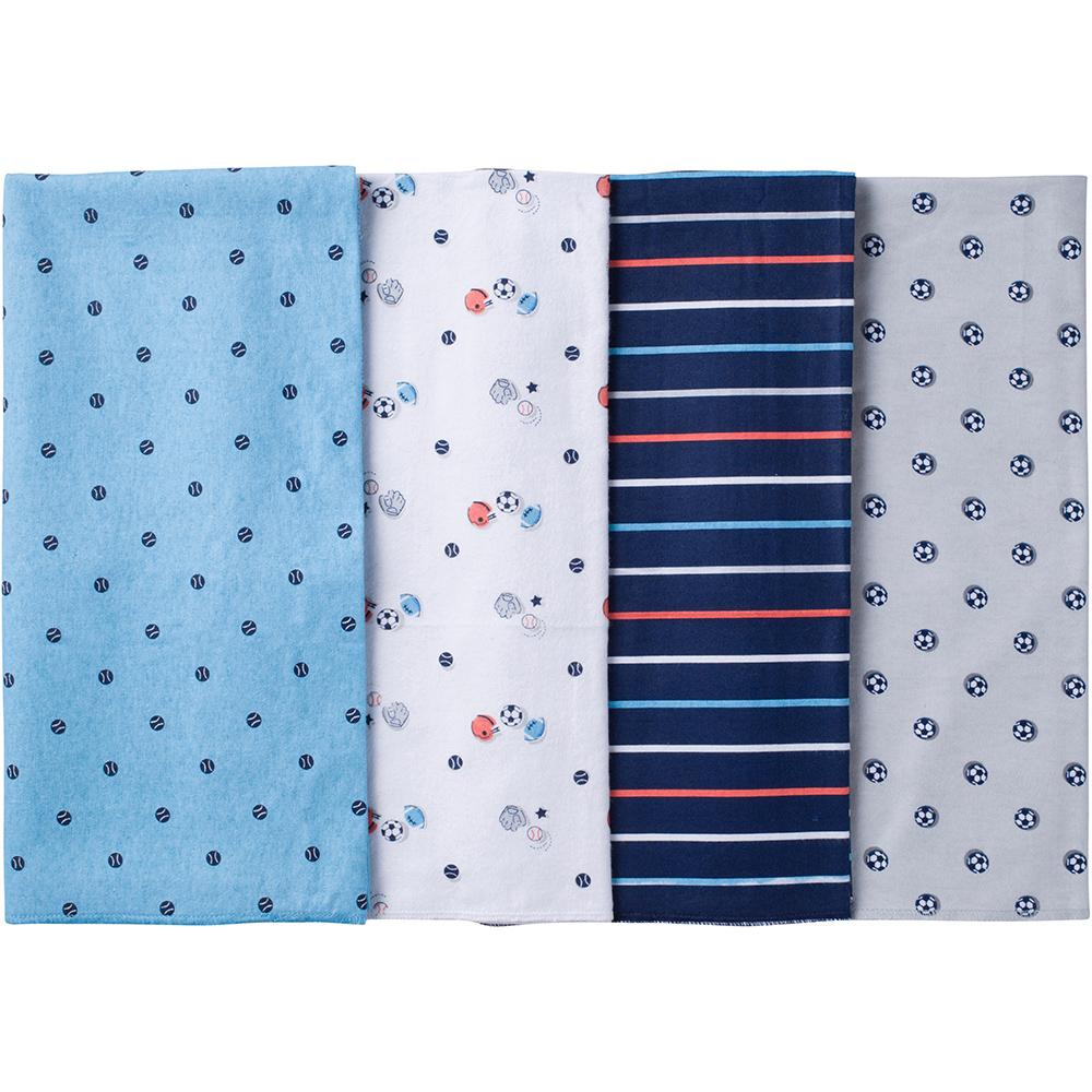 4-Pack Boys Sports Flannel Receiving Blankets