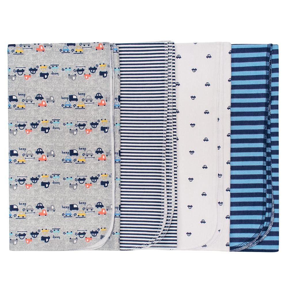 4-Pack Boys Cars Flannel Receiving Blankets