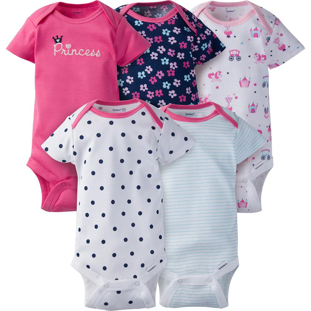 5-Pack Girls Princess Onesies® Brand Short Sleeve Bodysuits