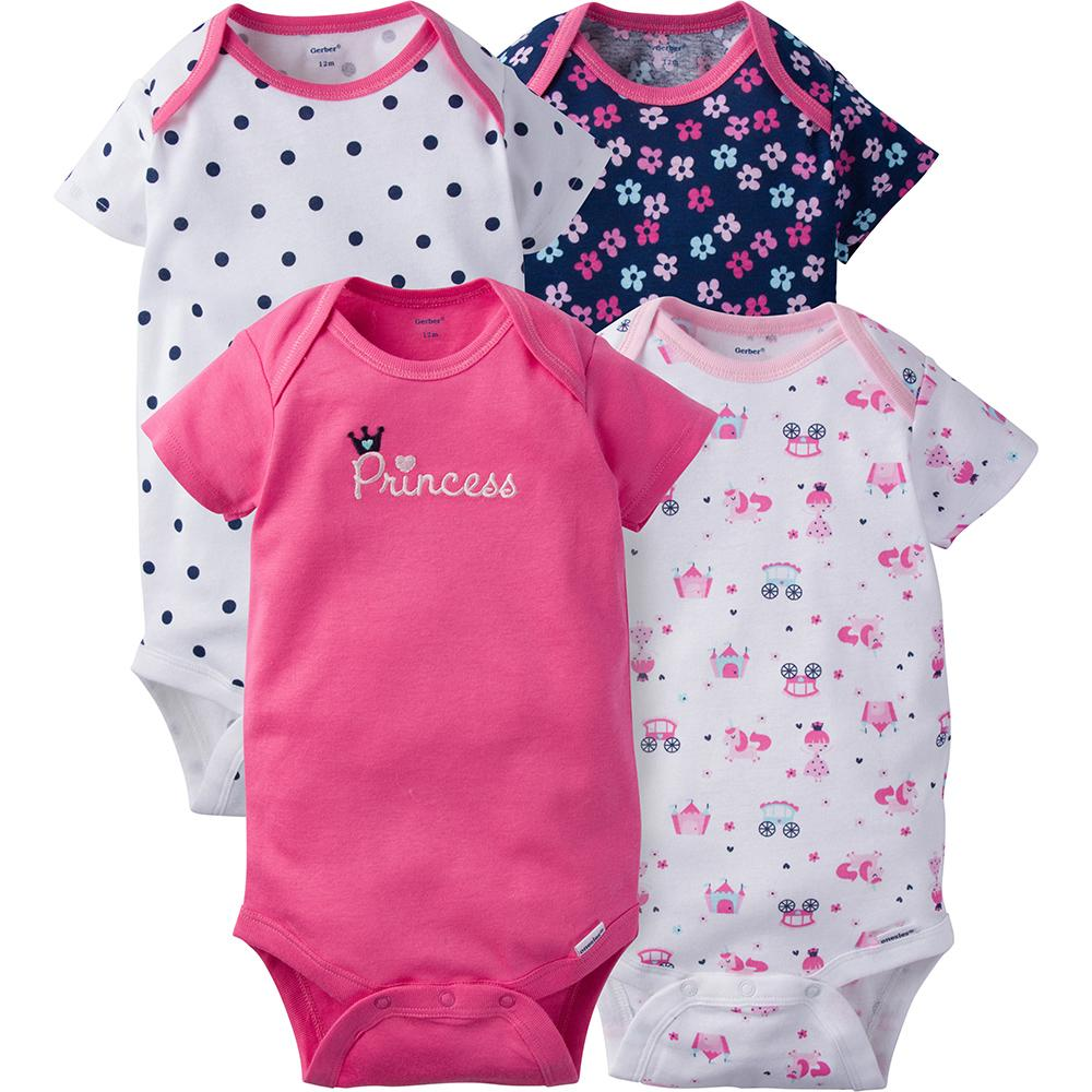 4-Pack Girls Princess Onesies® Brand Short Sleeve Bodysuits
