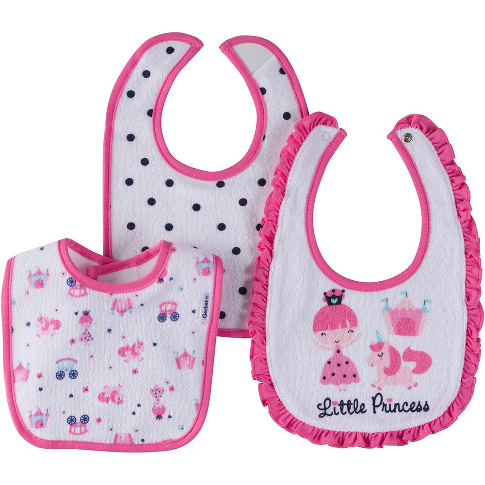 3-Pack Girls Little Princess Dribbler Bibs-Gerber Childrenswear