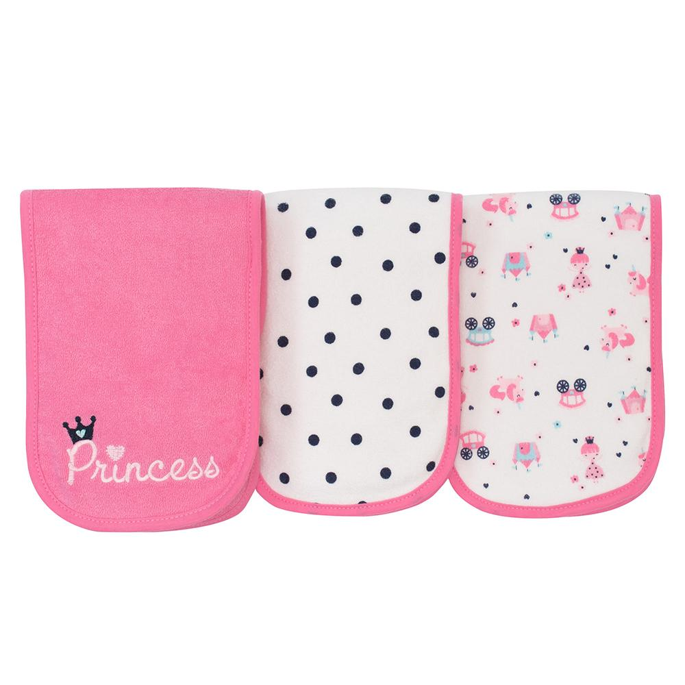 3-Pack Girls Princess Terry Burpcloths