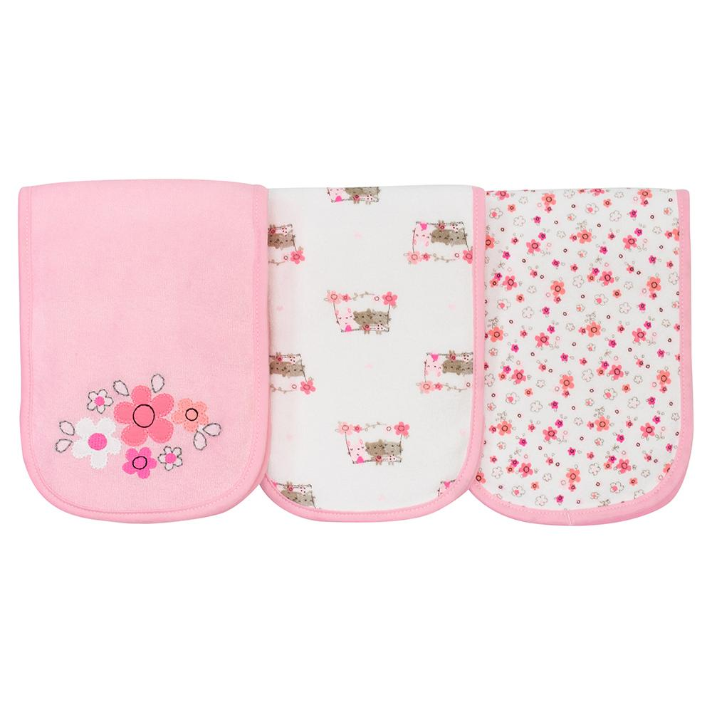 3-Pack Girls Bear Terry Burpcloths