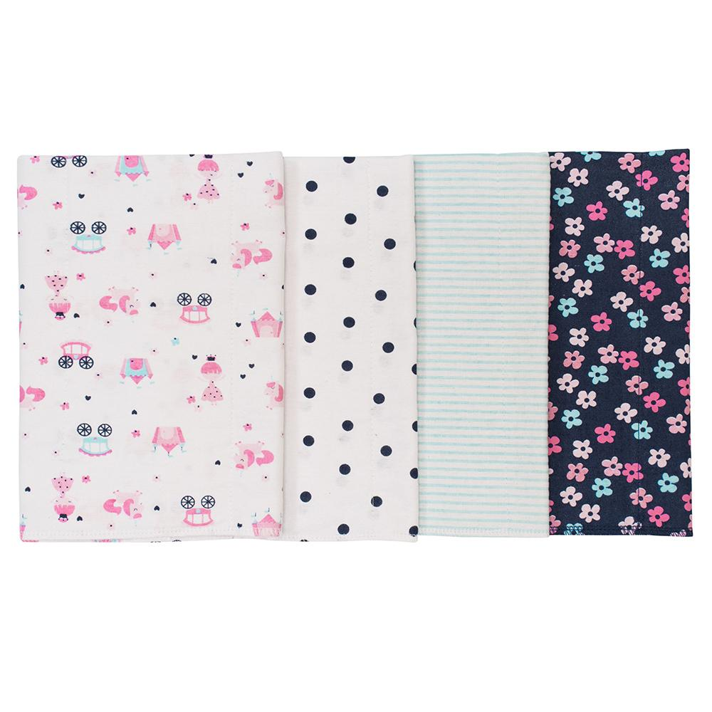 4-Pack Girls Princess Flannel Burpcloths