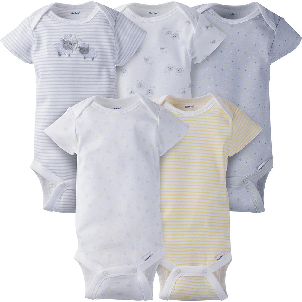 5-Pack Neutral Grey Lamb Onesies® Brand Short Sleeve Bodysuits-Gerber Childrenswear