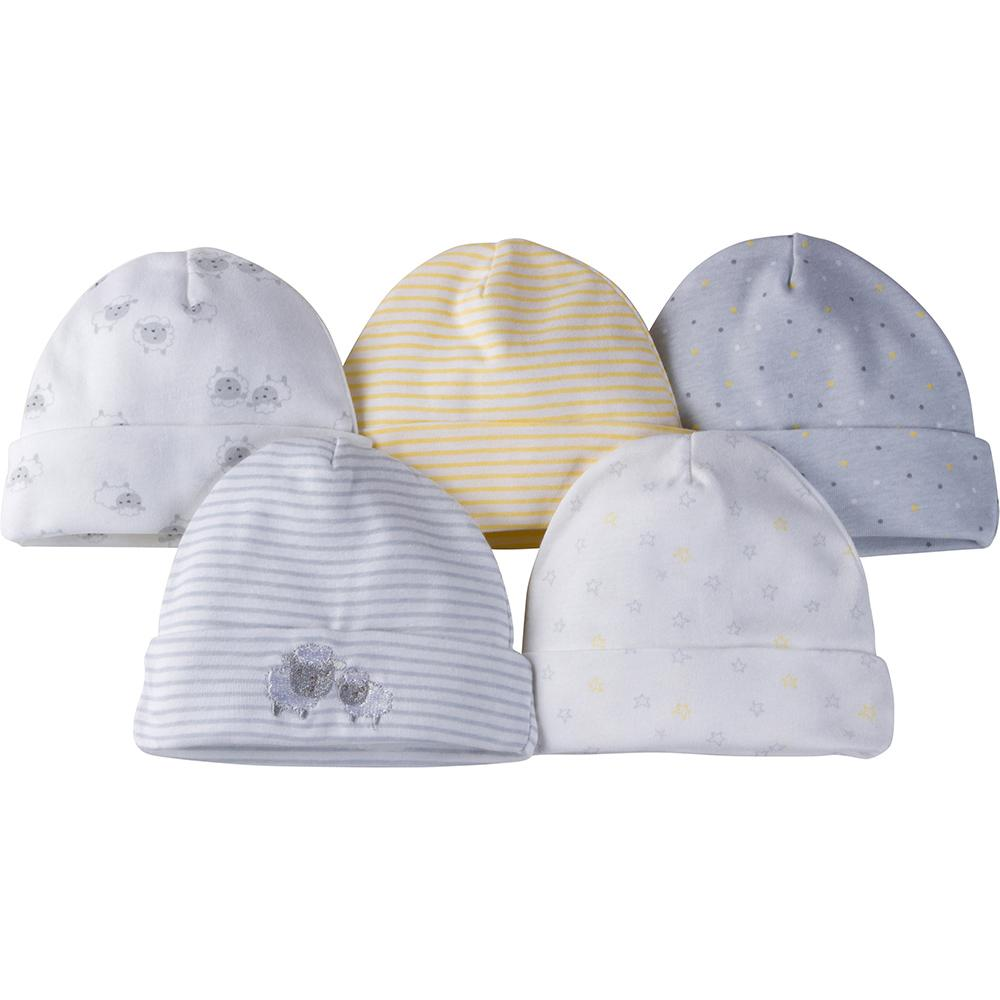 5-Pack Neutral Grey Lamb Caps-Gerber Childrenswear