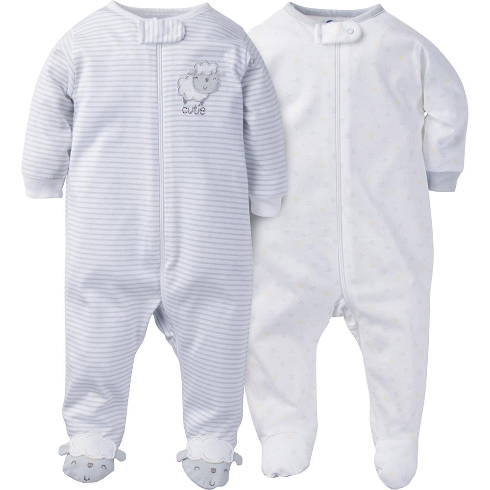 2-Pack Neutral Grey Lamb Sleep N' Plays-Gerber Childrenswear