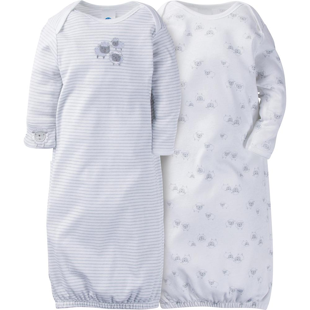 2-Pack Neutral Grey Lamb Mitten Cuff Gowns-Gerber Childrenswear