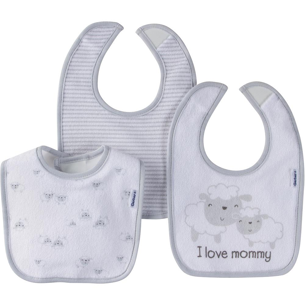 3-Pack Neutral Grey Lambs Dribbler Bibs-Gerber Childrenswear