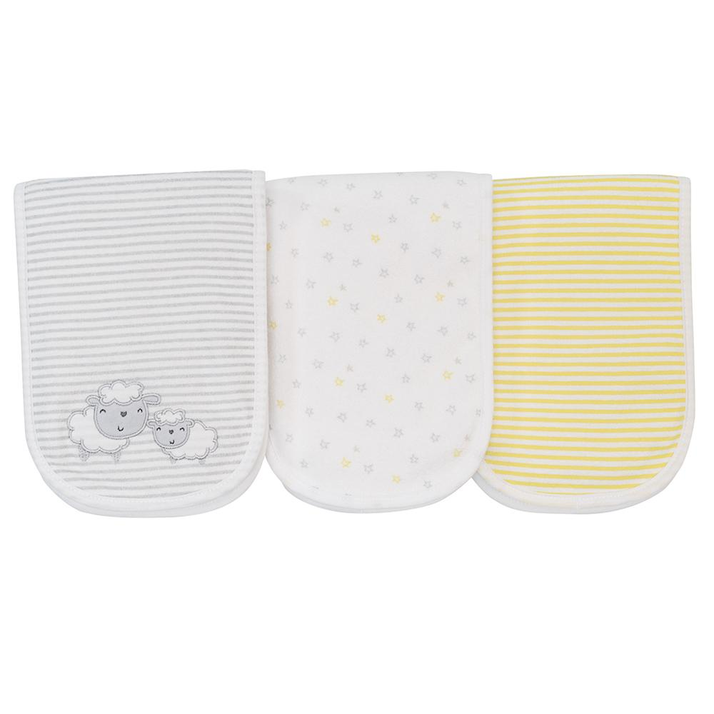 3-Pack Neutral Grey Lamb Terry Burpcloths