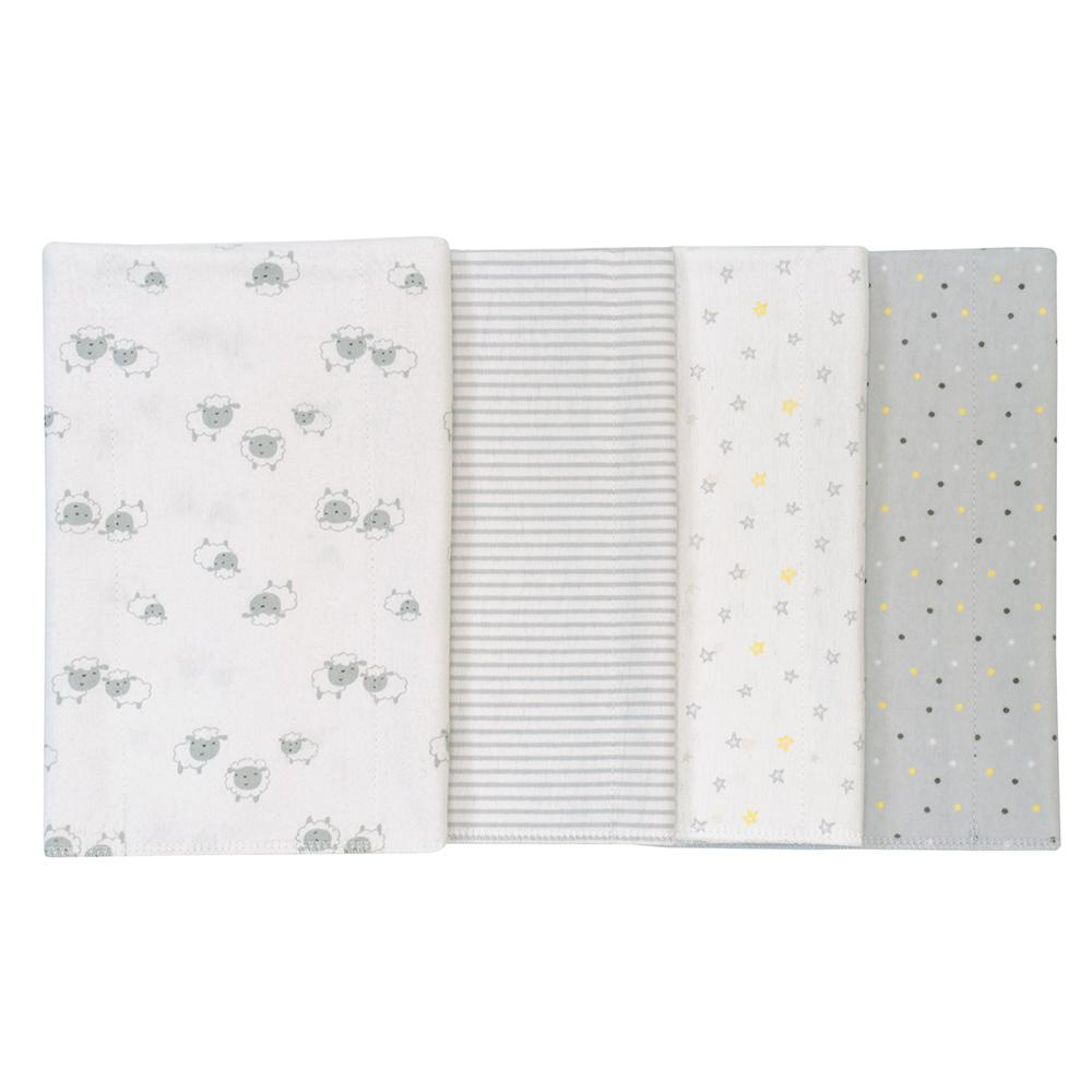 4-Pack Neutral Grey Lamb Flannel Burpcloths