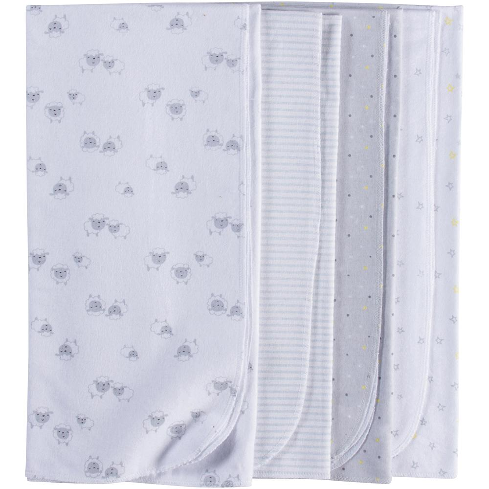 4 Pack Neutral Grey Lamb Flannel Receiving Blankets