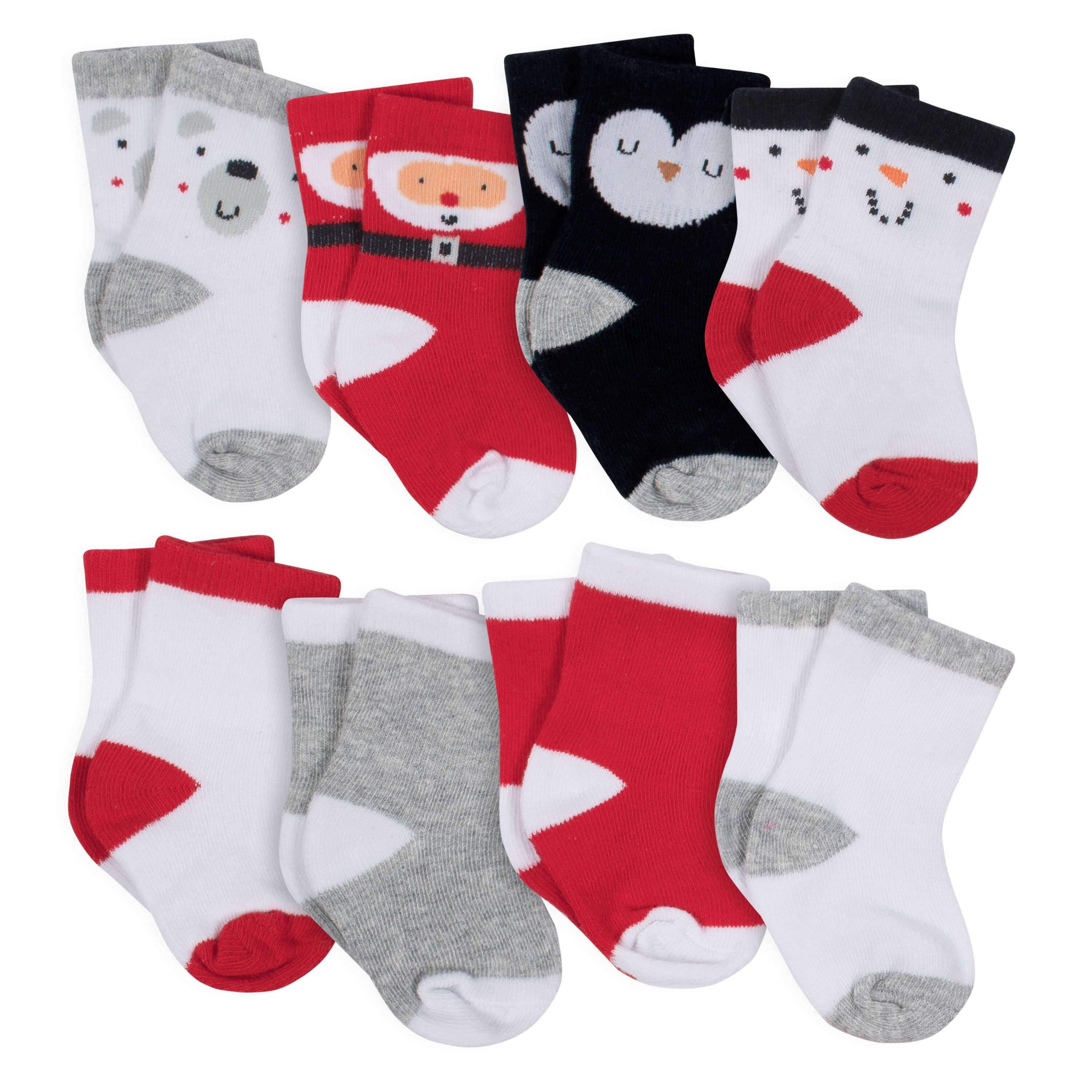 8-Pack Neutral Wiggle Proof Stay On Socks - Holiday