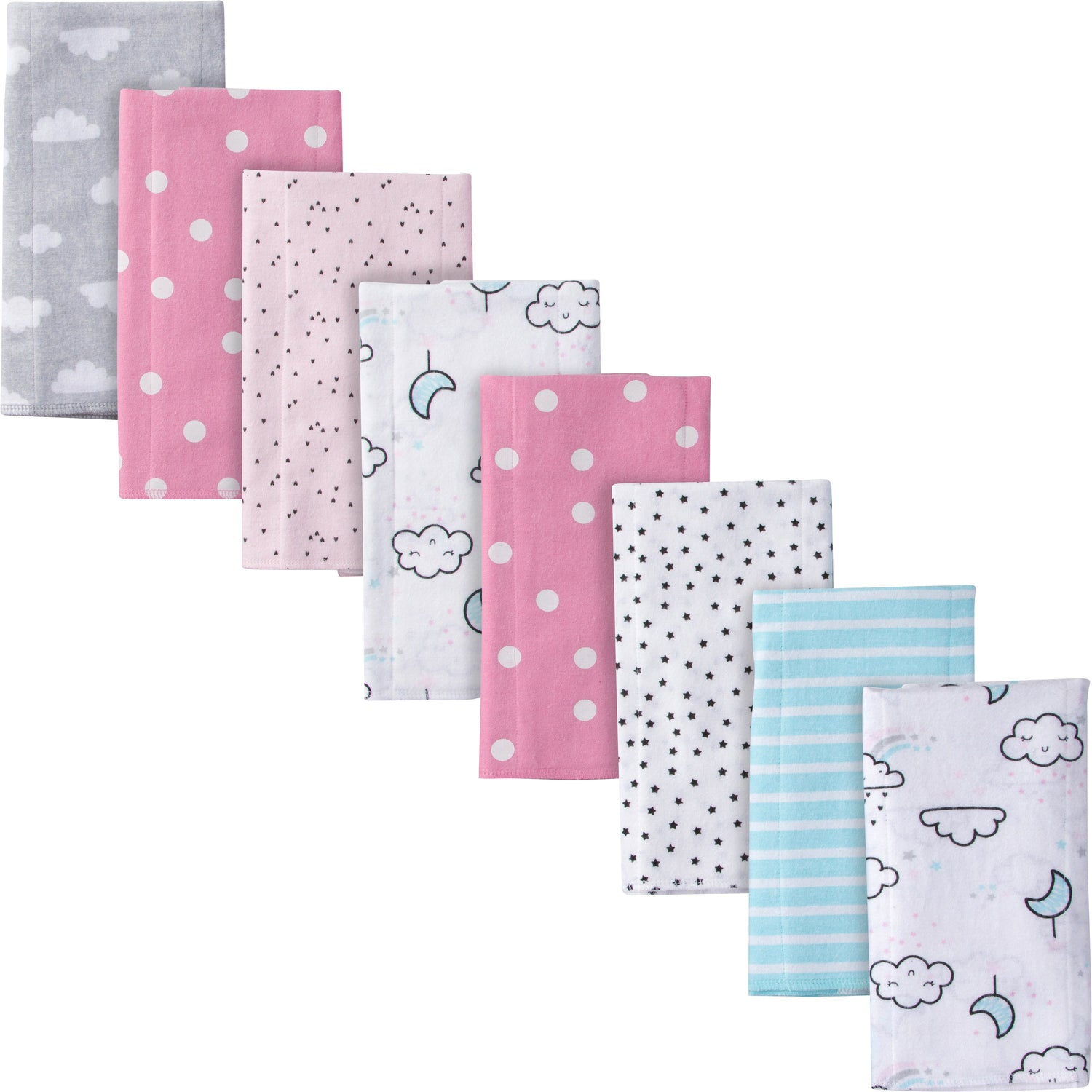 20 x 14 GERBER Baby Girls 4-Pack Flannel Burp Cloth Princess Arrival