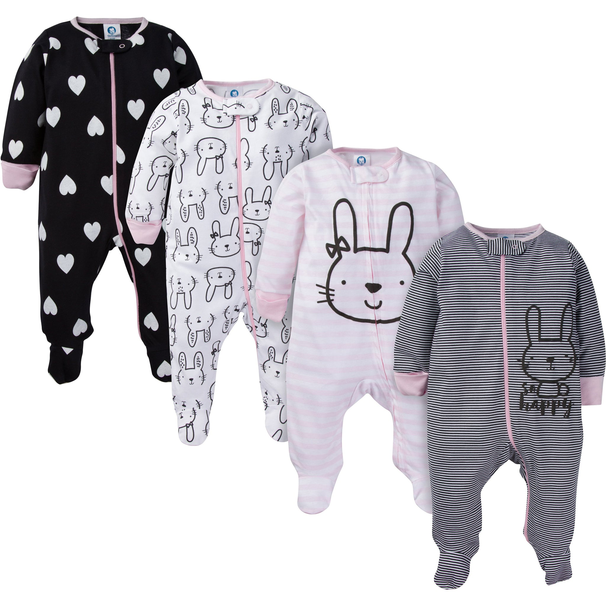 4-Pack Girls Pink Bunny Sleep N' Play
