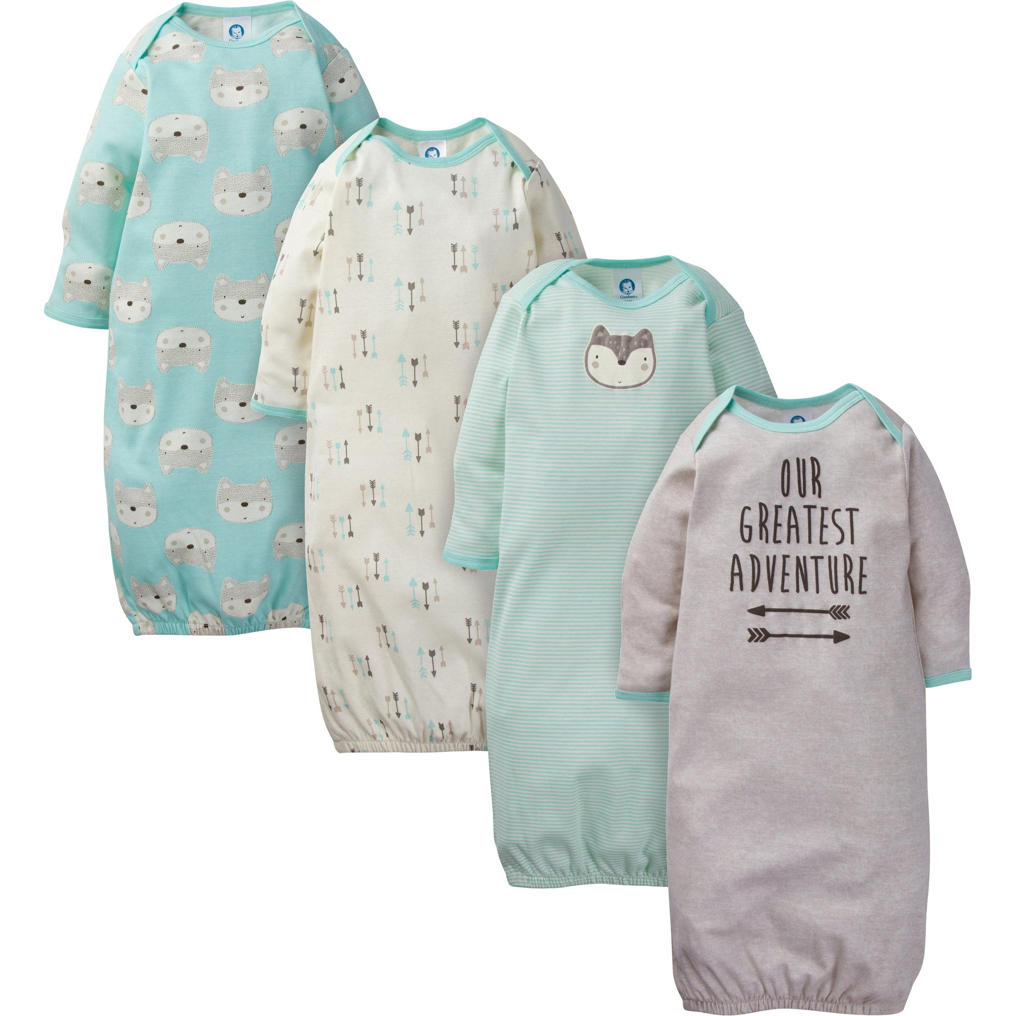 4-Pack Boys Fox Gowns
