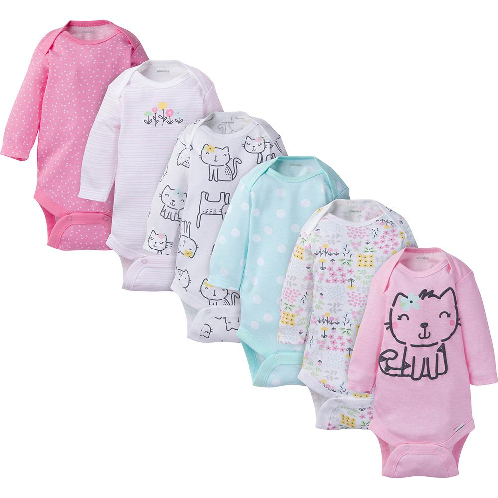 6-Pack Onesies® Brand Baby Girl Long Sleeve Kitty Bodysuits