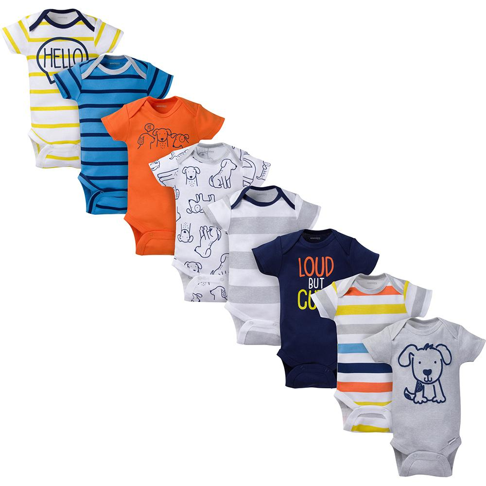 8-Pack Onesies® Brand Baby Boy Short Sleeve Navy & Orange Bodysuits