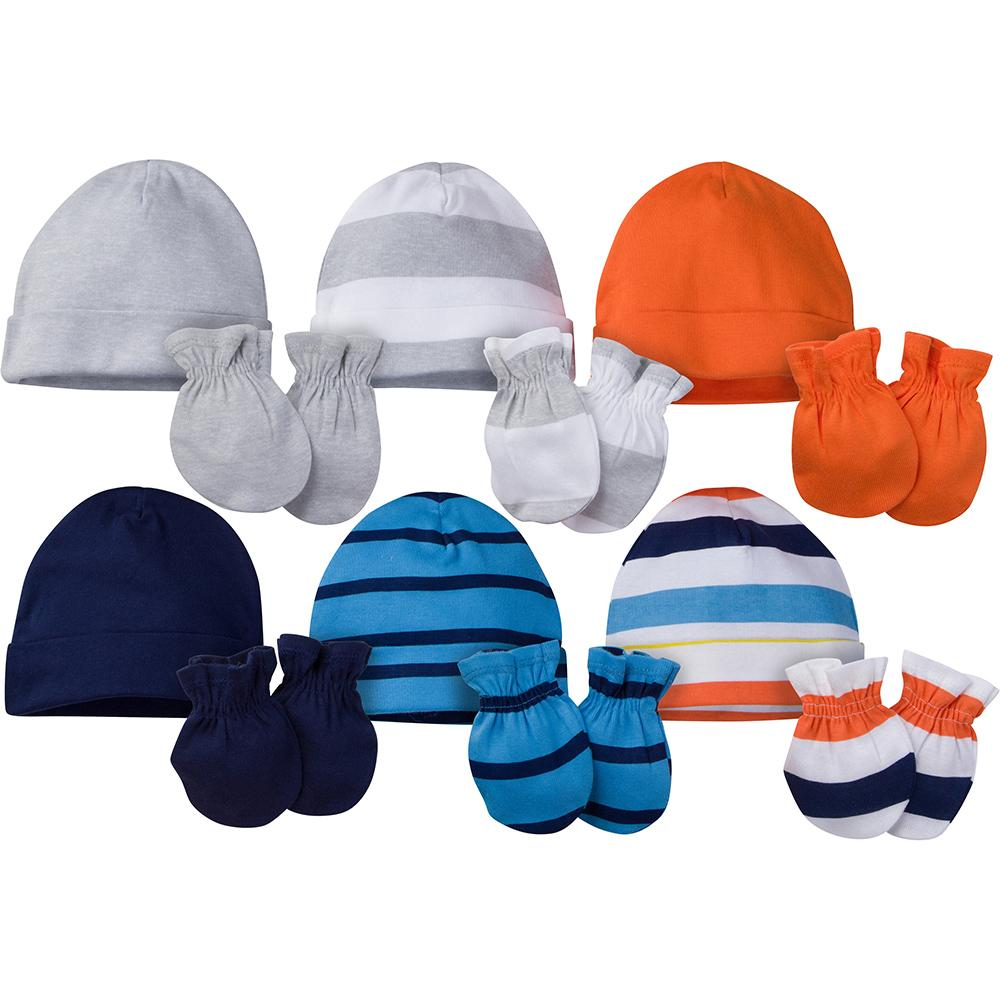 12-Piece Onesies® Brand Baby Boy Navy & Orange Cap and Mitten Set