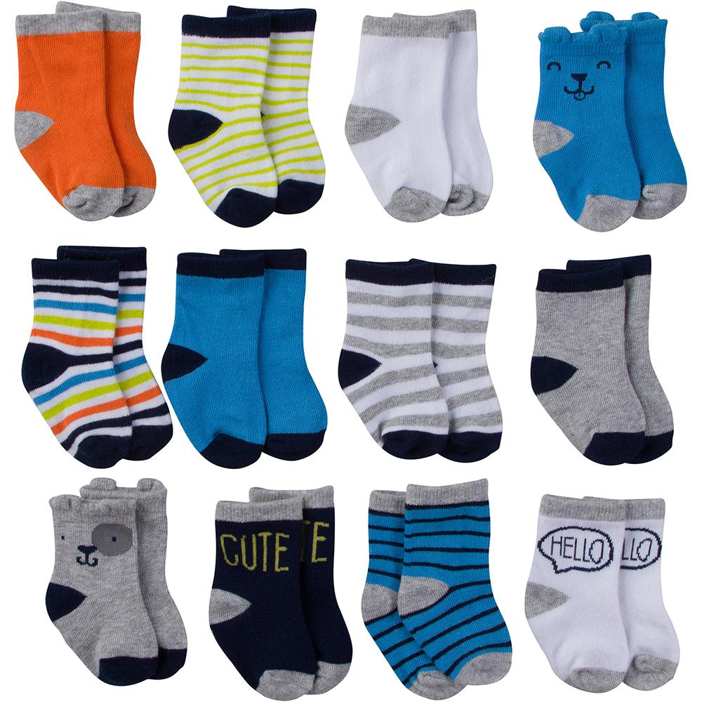 12-Pack Onesies Brand Baby Boy Multi-Colored Jersey Crew Socks