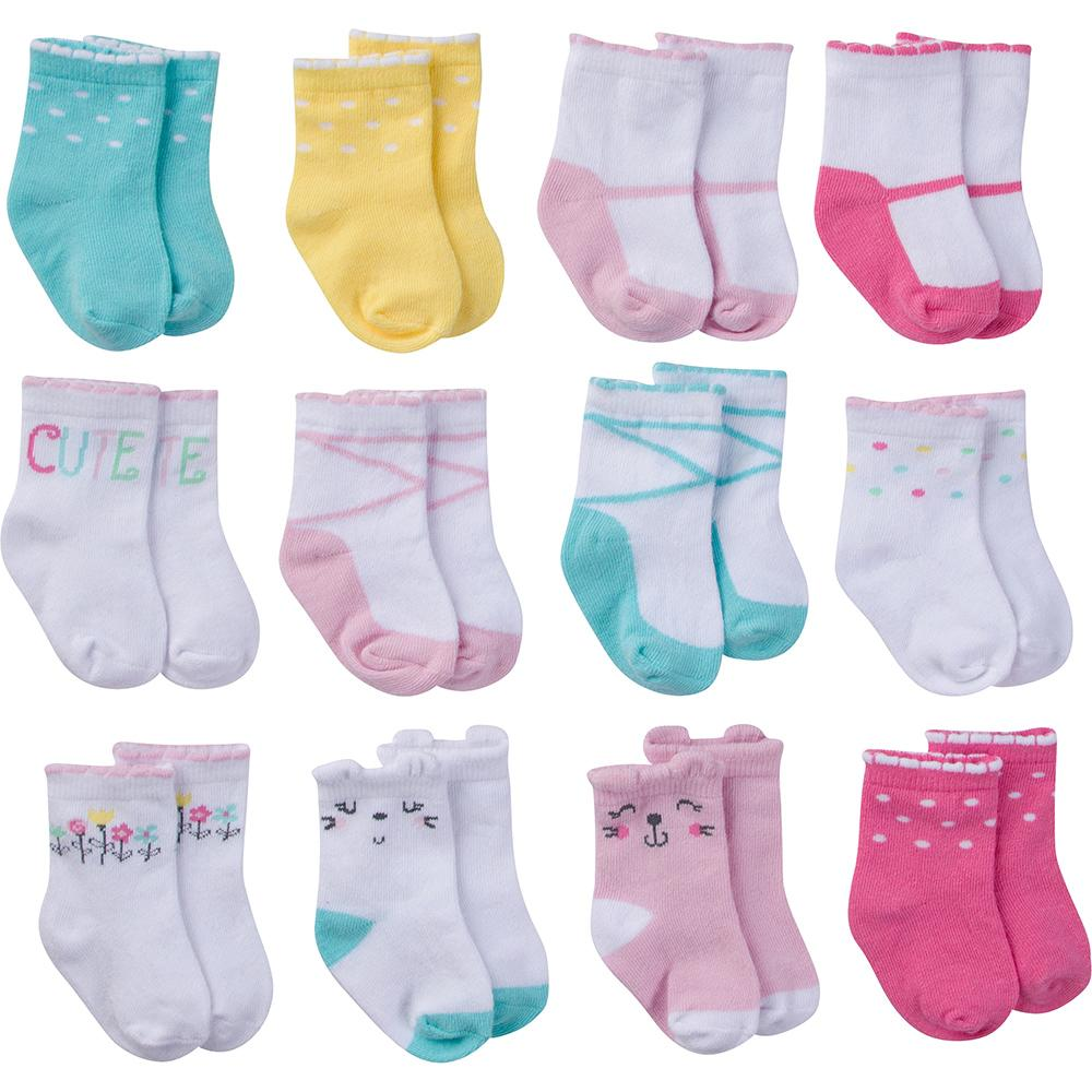 12-Pack Onesies® Brand Baby Girl Multi-Colored Jersey Crew Socks