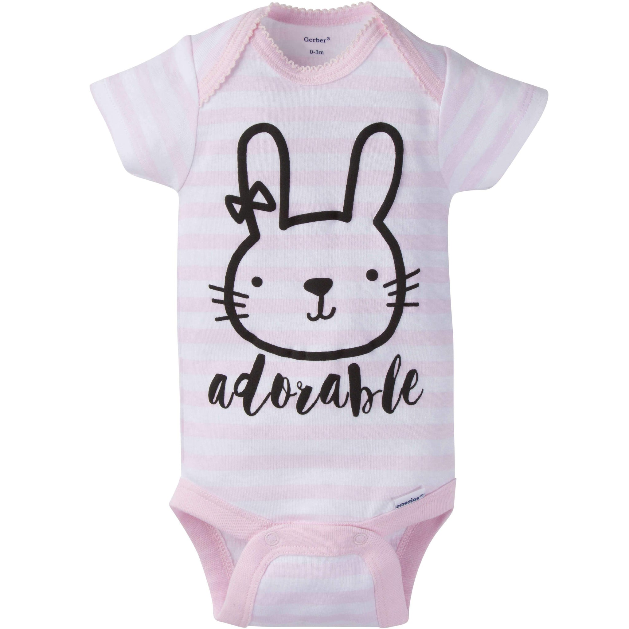 8-Pack Girls Bunny Short-Sleeve Onesies Bodysuits