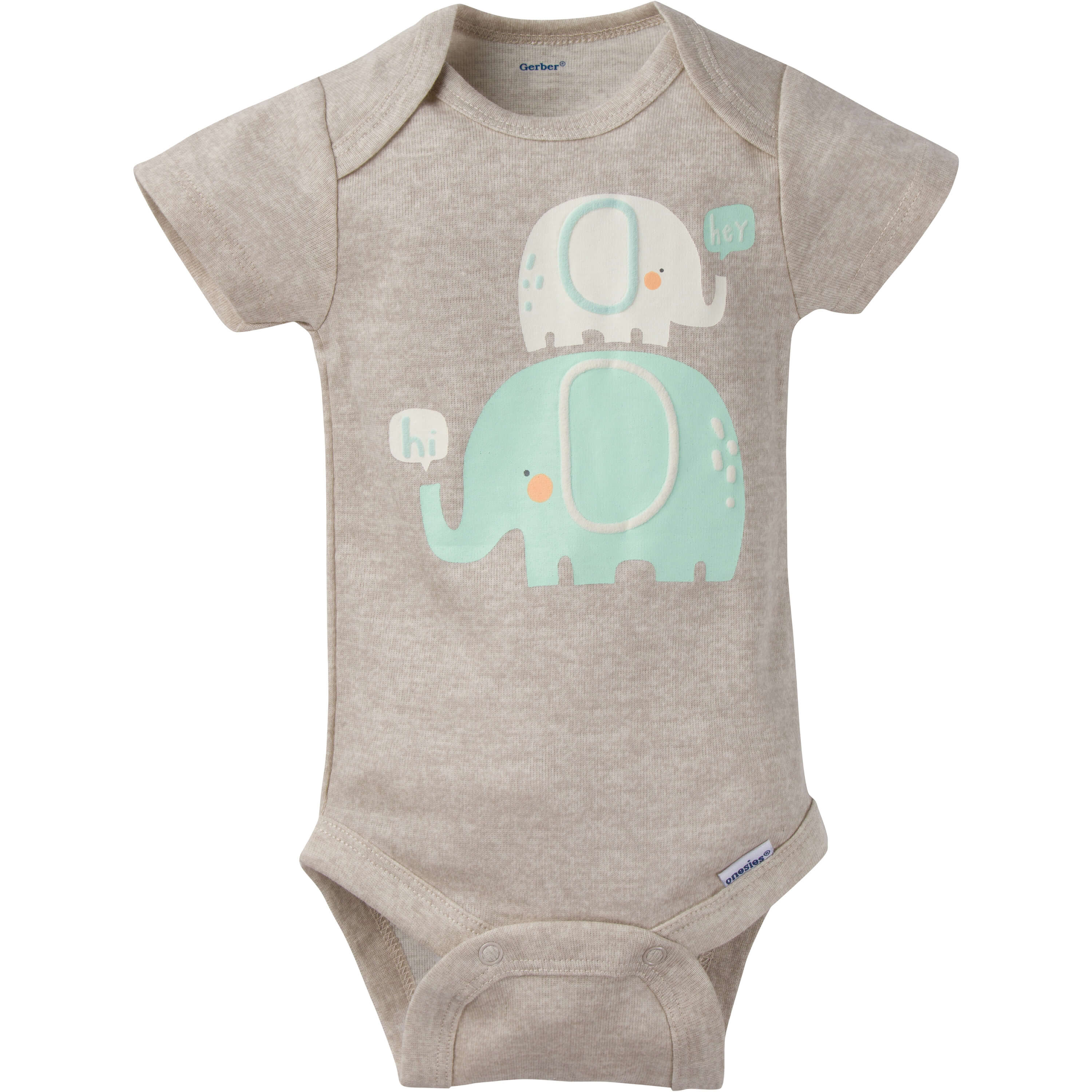 8 Pack Neutral Elephant Short Sleeve Onesies Bodysuits