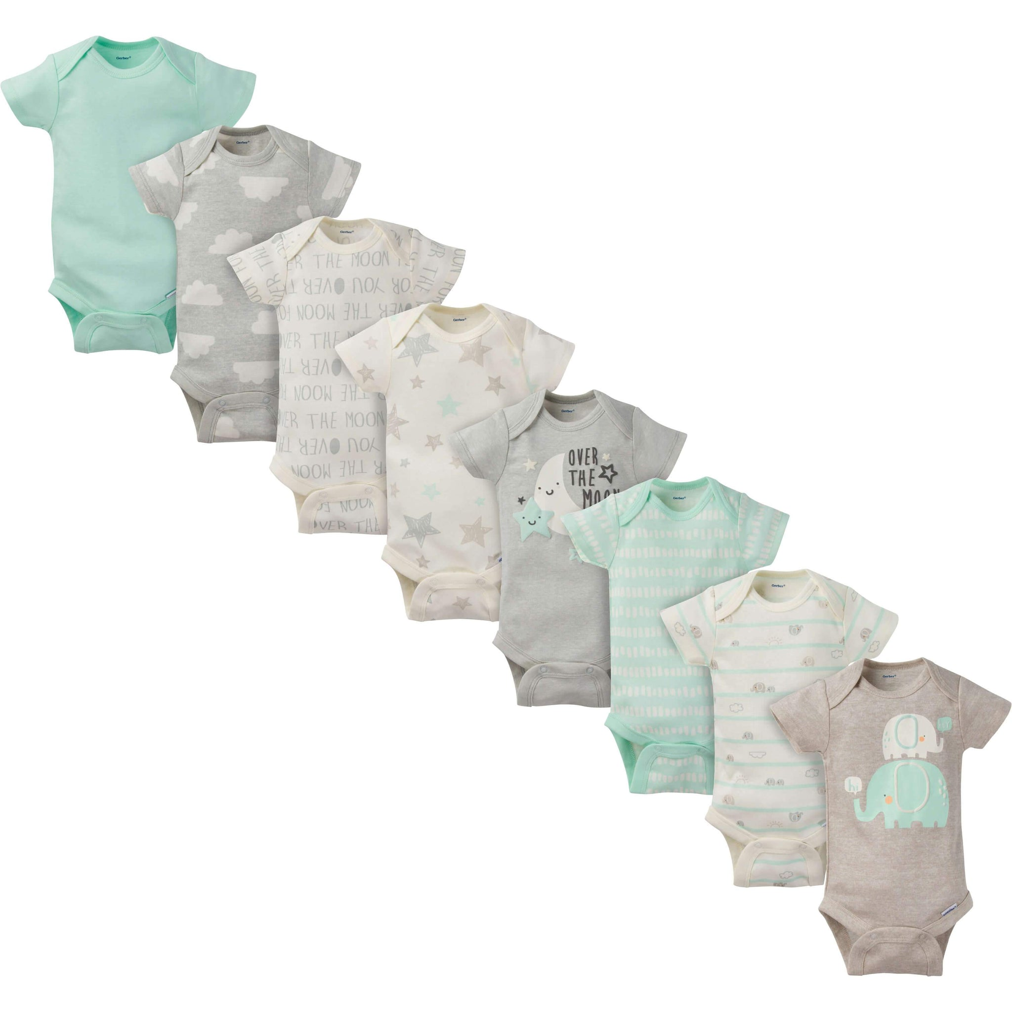 8-Pack Neutral Elephant Short-Sleeve Onesies Bodysuits