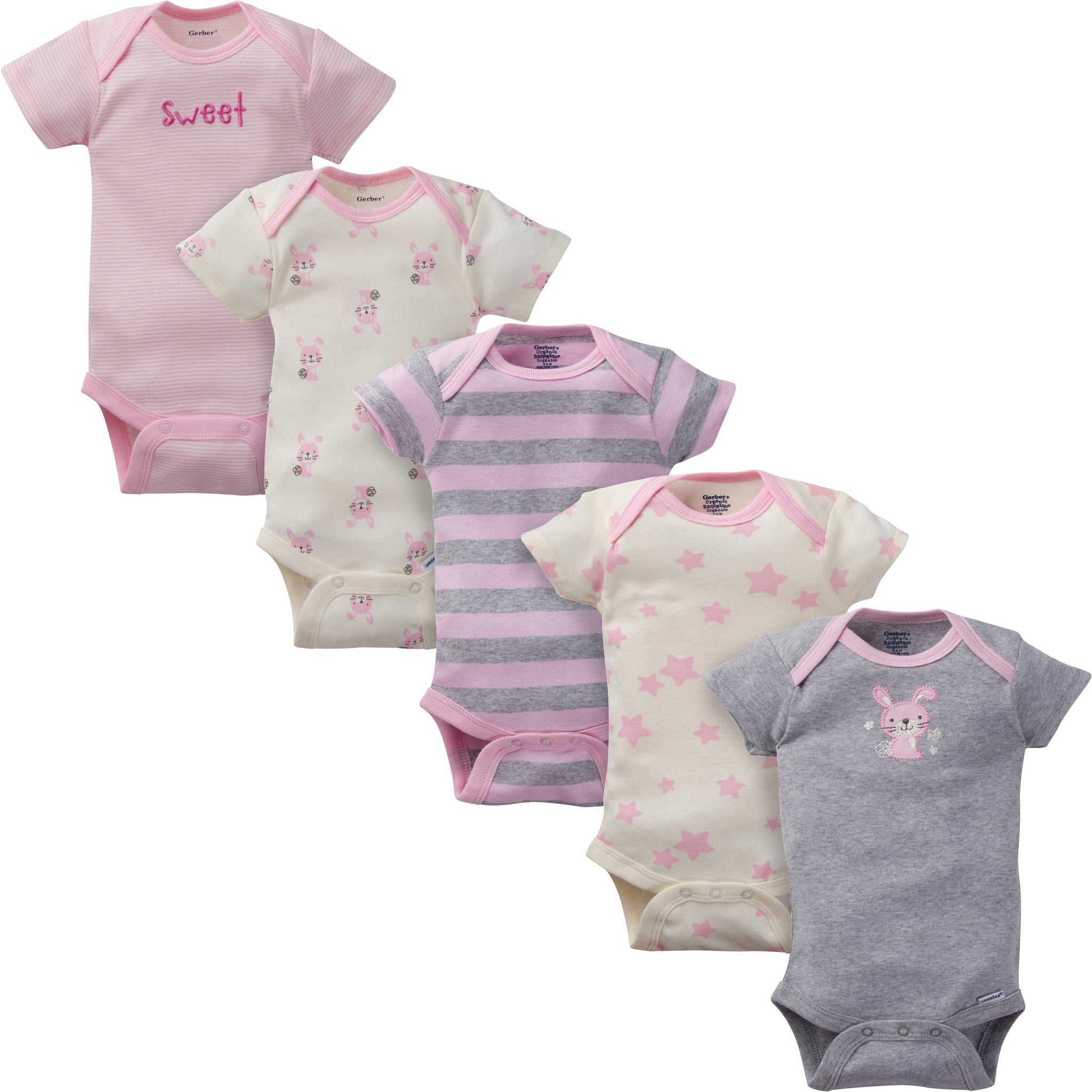 5-Pack Girls Bunny Organic Short-Sleeve Onesies Bodysuits