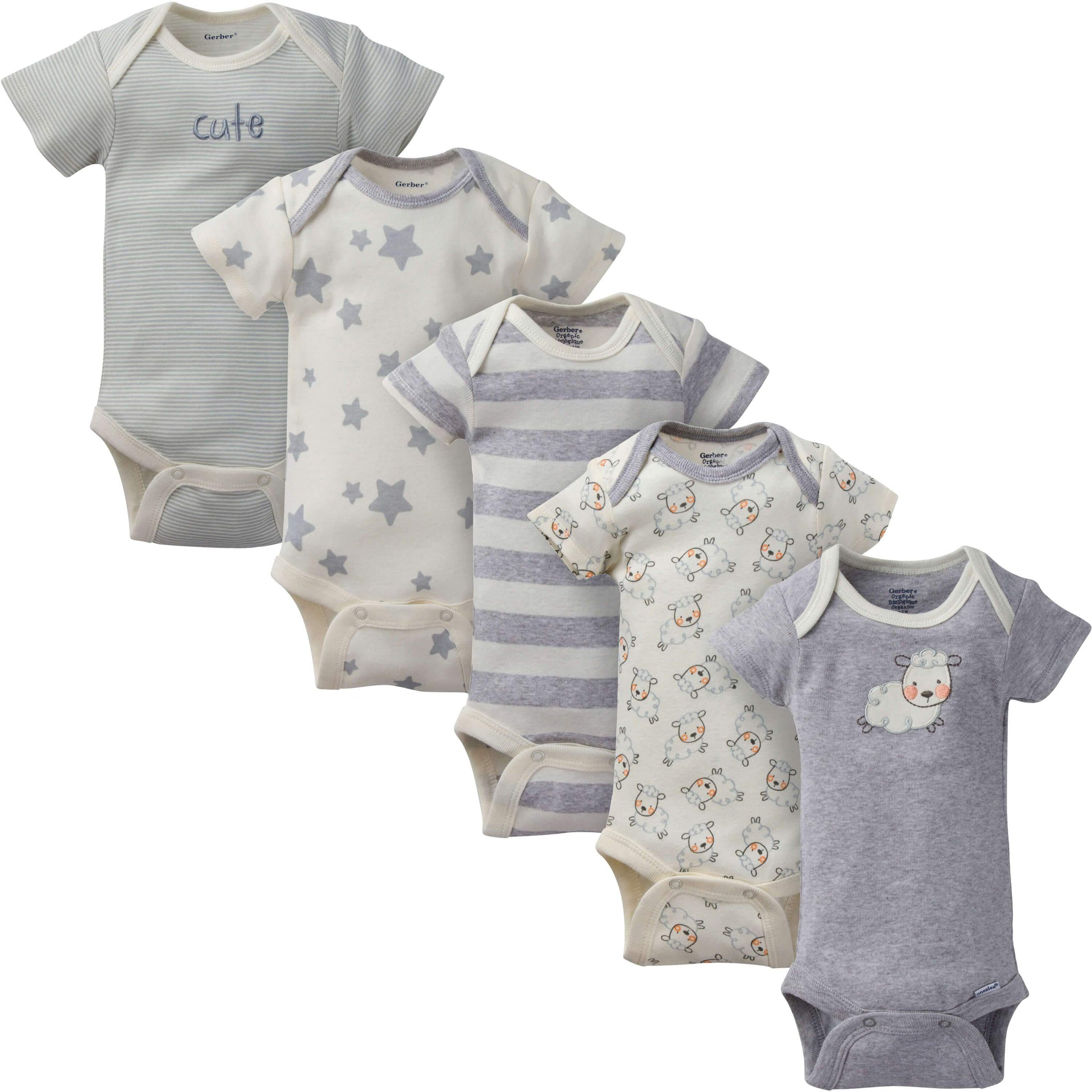 5-Pack Neutral Sheep Organic Short-Sleeve Onesies Bodysuit