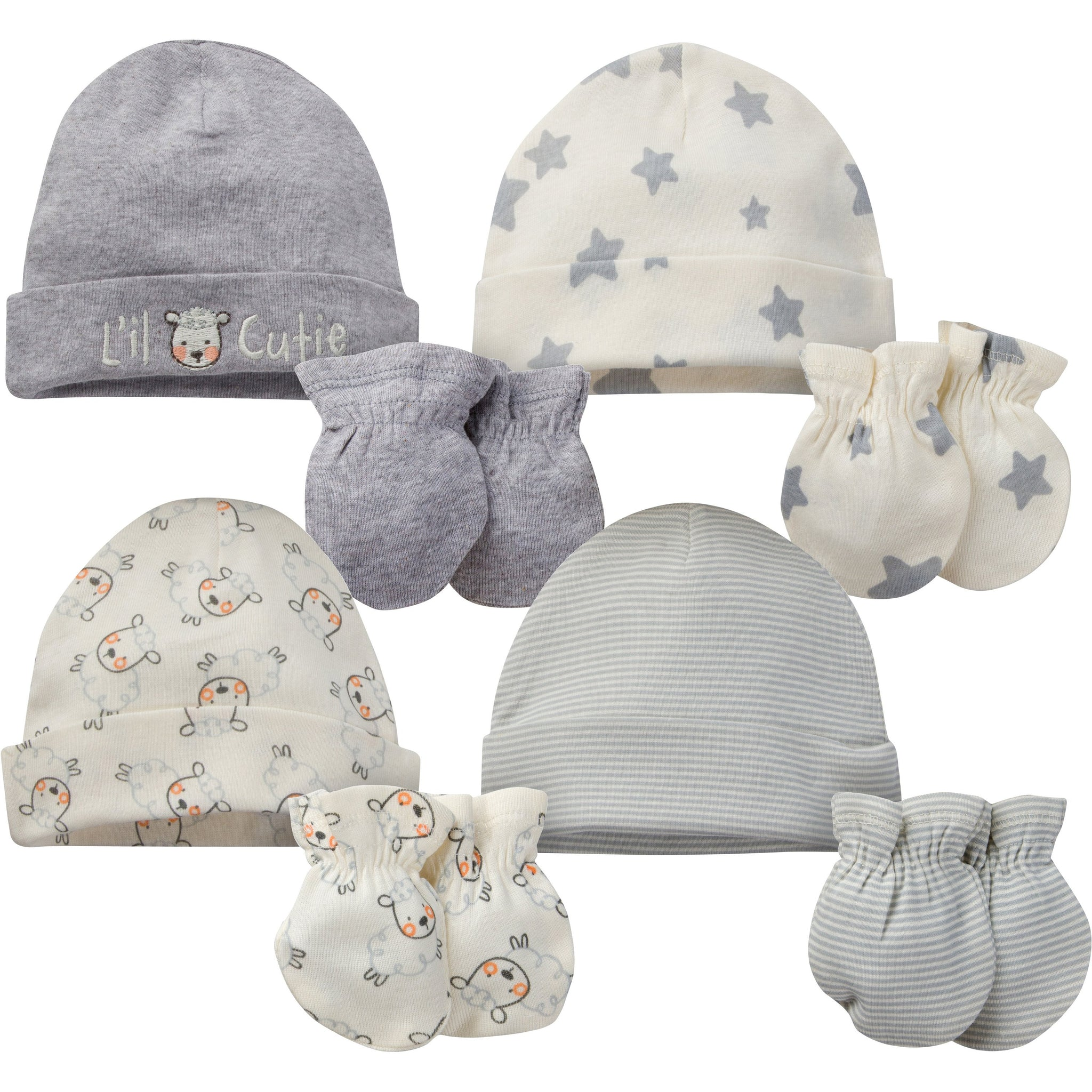 8-Piece Neutral Sheep Organic Cap and Mitten Set