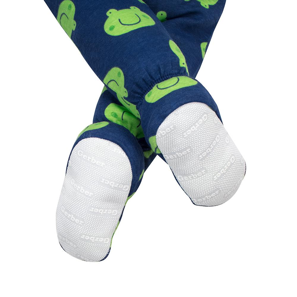 2-Pack Boys Frog Snug Fit Footed PJs with Non-Slip Soles