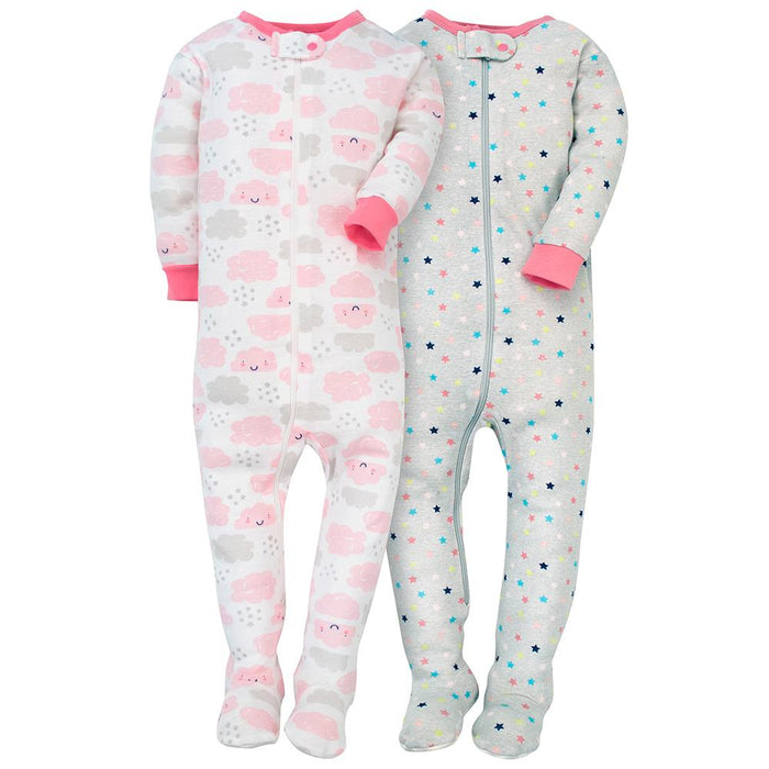 ce8e01582076 2-Pack Girls Cloud   Stars Snug Fit Footed PJs – Gerber Childrenswear