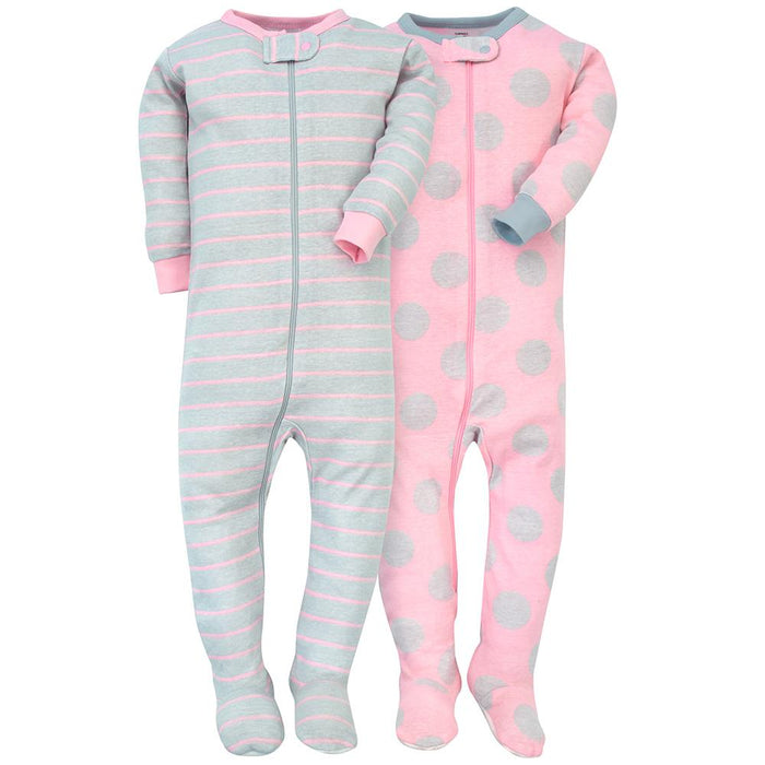 f0e62d4439e6 2-Pack Girls Pink   Grey Snug Fit Footed PJs – Gerber Childrenswear