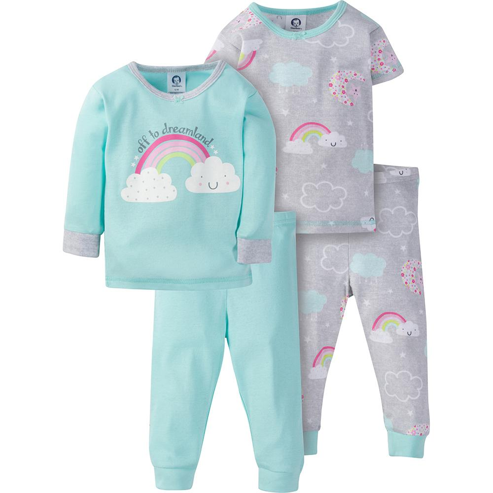 4-Piece Girls Rainbow Snug Fit PJs