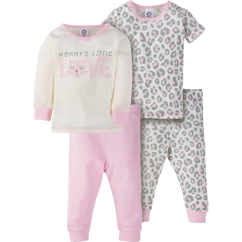 4-Piece Girls Pink Leopard Snug Fit PJs