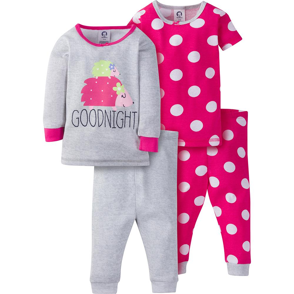 4-Piece Girls Pink Dot Snug Fit PJs