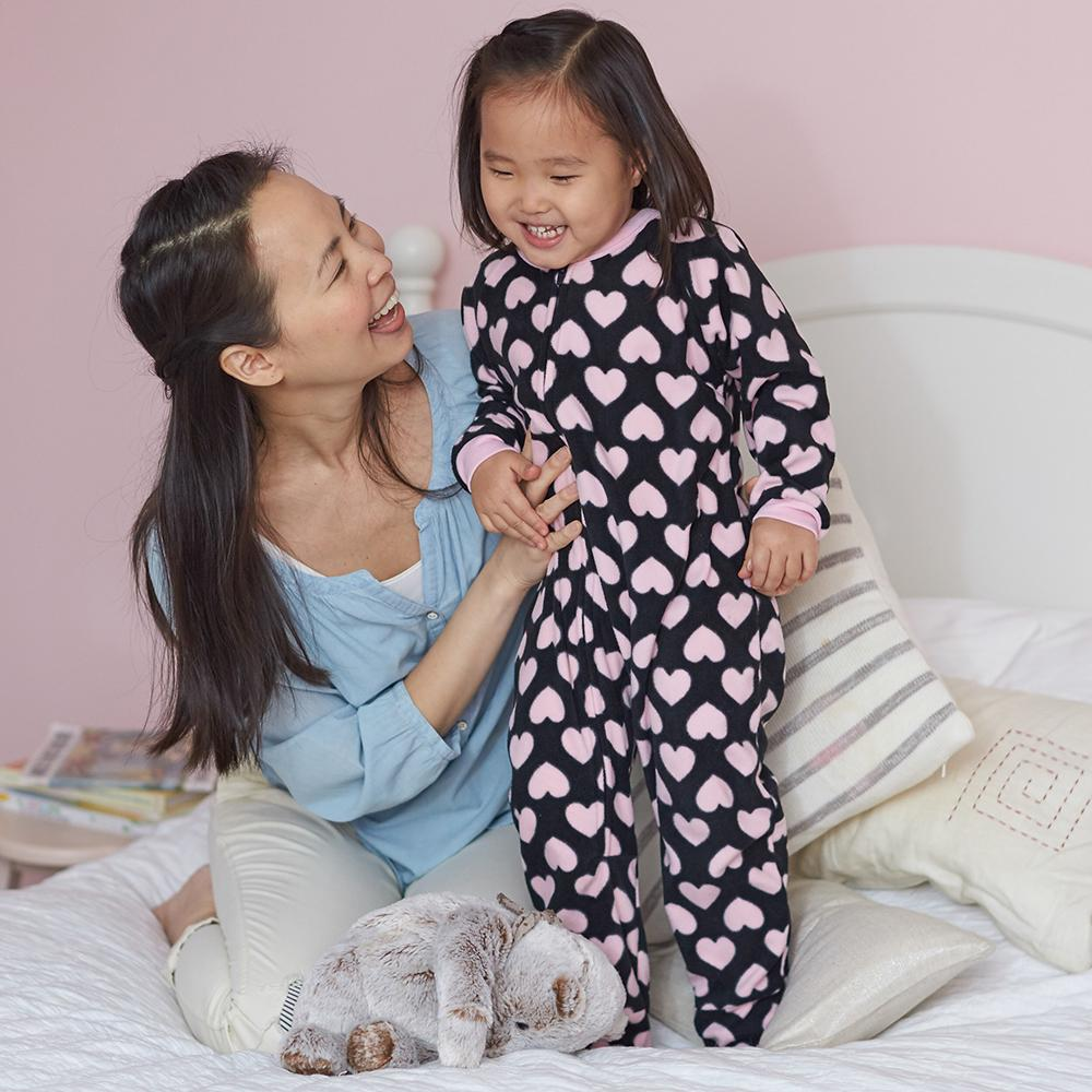 2-Pack Toddler Girl Pink Hearts Blanket Sleepers