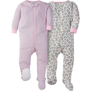 2-Pack Girl Pink Leopard Snug Fit Footed Pajamas