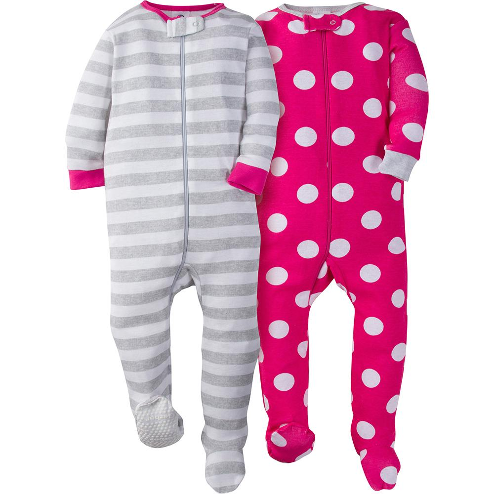 2-Pack Girl Pink Dot Snug Fit Footed Pajamas