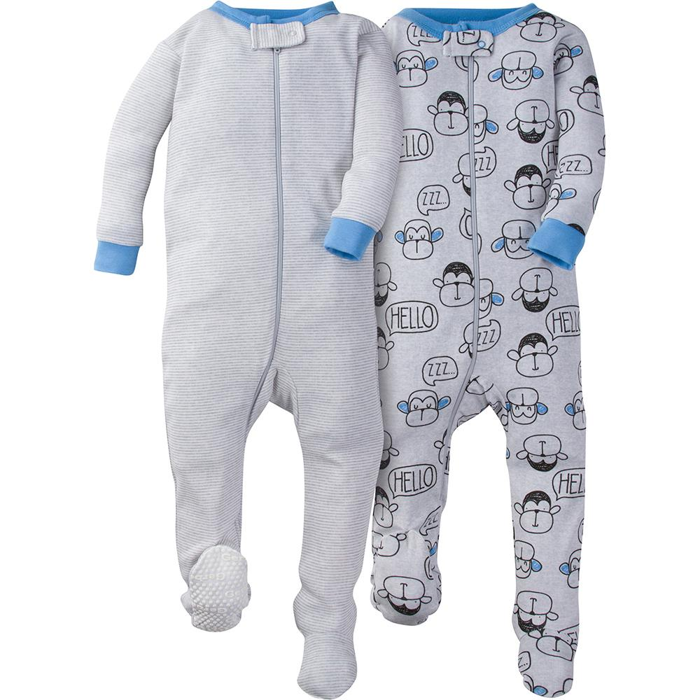 2-Pack Boys Monkey Snug Fit Footed Pajamas-Gerber Childrenswear